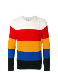Jersey con cuello circular de rayas horizontales en multicolor de AMI Alexandre Mattiussi