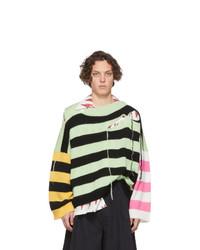Jersey con cuello circular de rayas horizontales en multicolor de Charles Jeffrey Loverboy