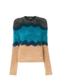 Jersey con cuello circular de rayas horizontales en multicolor de Dsquared2