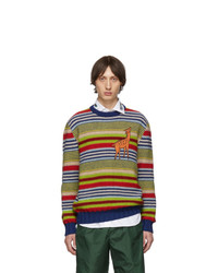 Jersey con cuello circular de rayas horizontales en multicolor de Gucci