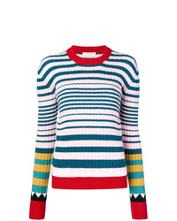 Jersey con cuello circular de rayas horizontales en multicolor de La Doublej