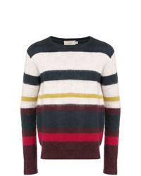 Jersey con cuello circular de rayas horizontales en multicolor de MAISON KITSUNÉ