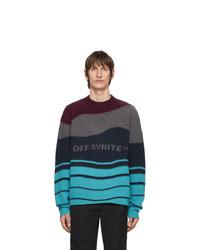 Jersey con cuello circular de rayas horizontales en multicolor de Off-White