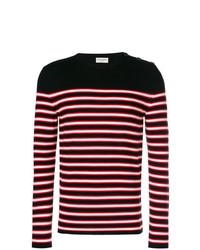 Jersey con cuello circular de rayas horizontales en multicolor de Saint Laurent