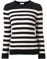 Jersey con cuello circular de rayas horizontales en negro y blanco