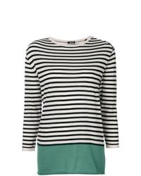 Jersey con cuello circular de rayas horizontales en negro y blanco de Aspesi
