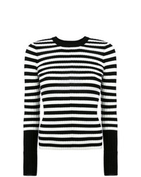 Jersey con cuello circular de rayas horizontales en negro y blanco de ATM Anthony Thomas Melillo