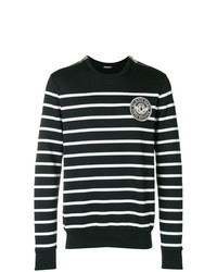 Jersey con cuello circular de rayas horizontales en negro y blanco de Balmain