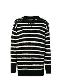 Jersey con cuello circular de rayas horizontales en negro y blanco de Ermanno Scervino