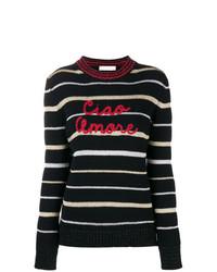 Jersey con cuello circular de rayas horizontales en negro y blanco de Giada Benincasa