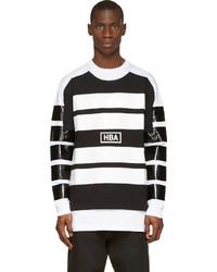 Jersey con cuello circular de rayas horizontales en negro y blanco de Hood by Air