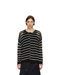 Jersey con cuello circular de rayas horizontales en negro y blanco de Isabel Benenato