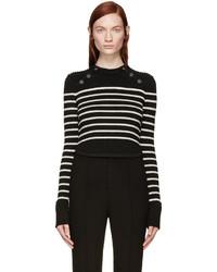 Jersey con cuello circular de rayas horizontales en negro y blanco de Isabel Marant