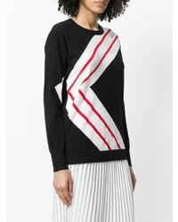 Jersey con cuello circular de rayas horizontales en negro y blanco de Karl Lagerfeld