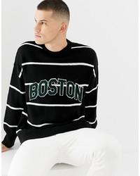 Jersey con cuello circular de rayas horizontales en negro y blanco de New Look