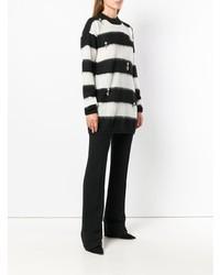 Jersey con cuello circular de rayas horizontales en negro y blanco de Cavalli Class