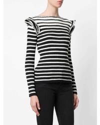 Jersey con cuello circular de rayas horizontales en negro y blanco de MSGM