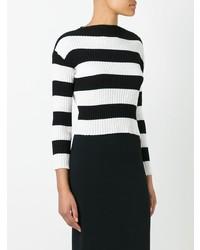 Jersey con cuello circular de rayas horizontales en negro y blanco de Boutique Moschino