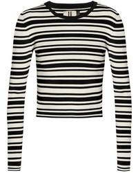 Jersey con cuello circular de rayas horizontales en negro y blanco de Topshop