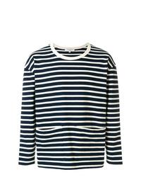 Jersey con cuello circular de rayas horizontales en negro y blanco de YMC