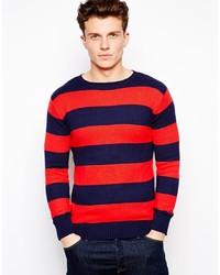 Jersey con cuello circular de rayas horizontales en rojo y azul marino de GANT RUGGER