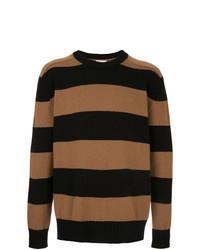 Jersey con cuello circular de rayas horizontales en tabaco