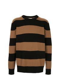 Jersey con cuello circular de rayas horizontales en tabaco de Laneus