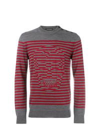 Jersey con cuello circular de rayas horizontales gris de Alexander McQueen