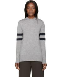 Jersey con cuello circular de rayas horizontales gris de Alexander Wang