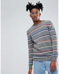 Jersey con cuello circular de rayas horizontales gris de Asos