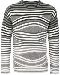Jersey con cuello circular de rayas horizontales gris de Emporio Armani