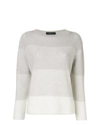 Jersey con cuello circular de rayas horizontales gris de Fabiana Filippi