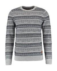 Jersey con cuello circular de rayas horizontales gris de Jack & Jones