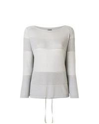 Jersey con cuello circular de rayas horizontales gris de Lorena Antoniazzi