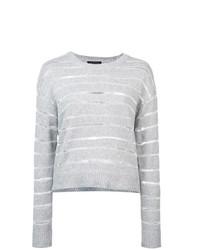 Jersey con cuello circular de rayas horizontales gris de Rag & Bone