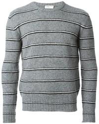 Jersey con cuello circular de rayas horizontales gris de Saint Laurent