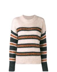 Jersey con cuello circular de rayas horizontales marrón claro de Isabel Marant