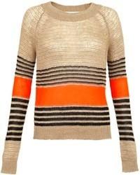 Jersey con cuello circular de rayas horizontales marrón