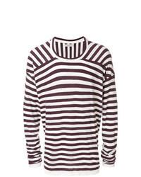 Jersey con cuello circular de rayas horizontales morado oscuro