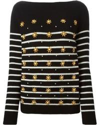 Jersey con cuello circular de rayas horizontales negro