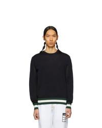 Jersey con cuello circular de rayas horizontales negro de Moncler
