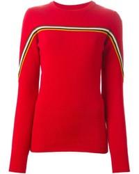 Jersey con cuello circular de rayas horizontales rojo de Isabel Marant