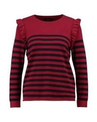 Jersey con cuello circular de rayas horizontales rojo de Only