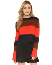 Jersey con cuello circular de rayas horizontales rojo de Rag and Bone