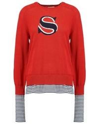 Jersey con cuello circular de rayas horizontales rojo de Sonia Rykiel