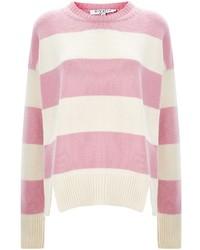 Jersey con cuello circular de rayas horizontales rosado