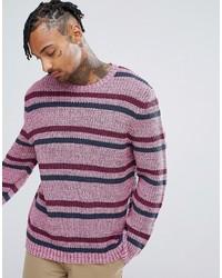 Jersey con cuello circular de rayas horizontales rosado de Asos