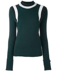 Jersey con cuello circular de rayas horizontales verde oscuro de Marni