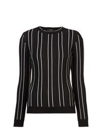 Jersey con cuello circular de rayas verticales negro