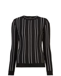 Jersey con cuello circular de rayas verticales negro de Derek Lam